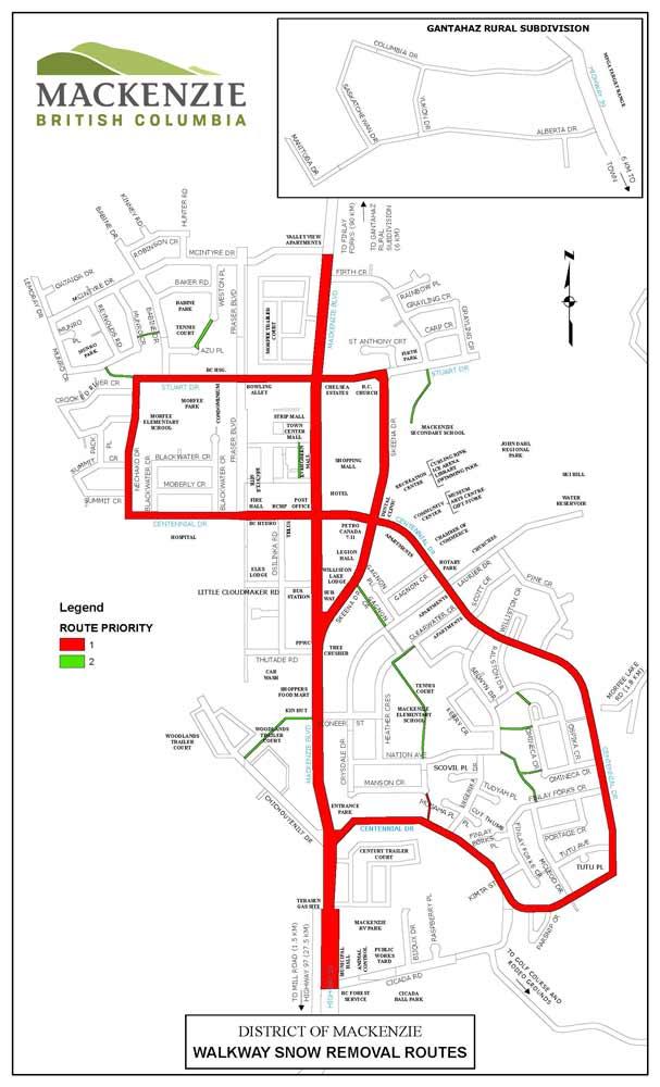 Walkway plowing routes