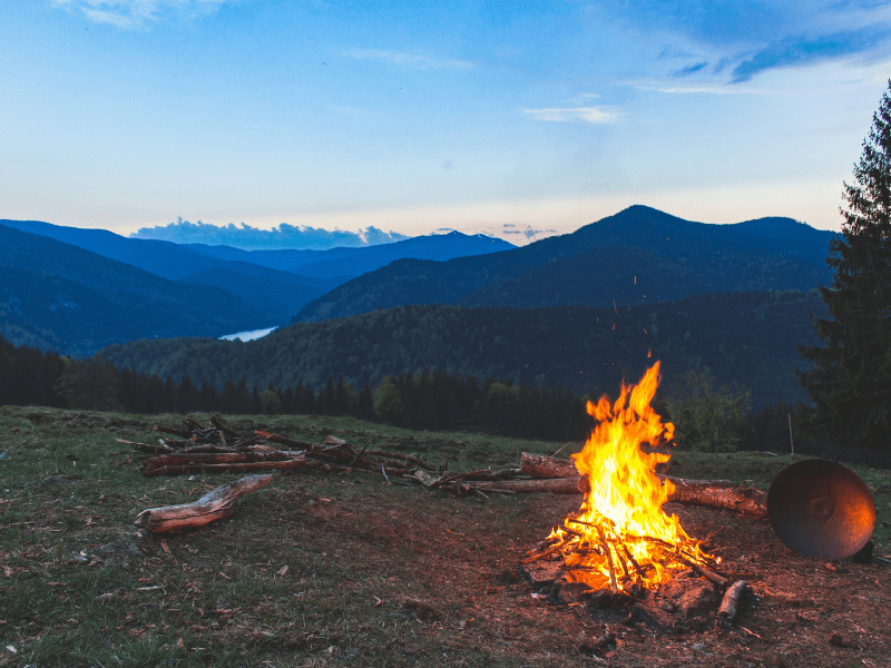 campfire and mountains