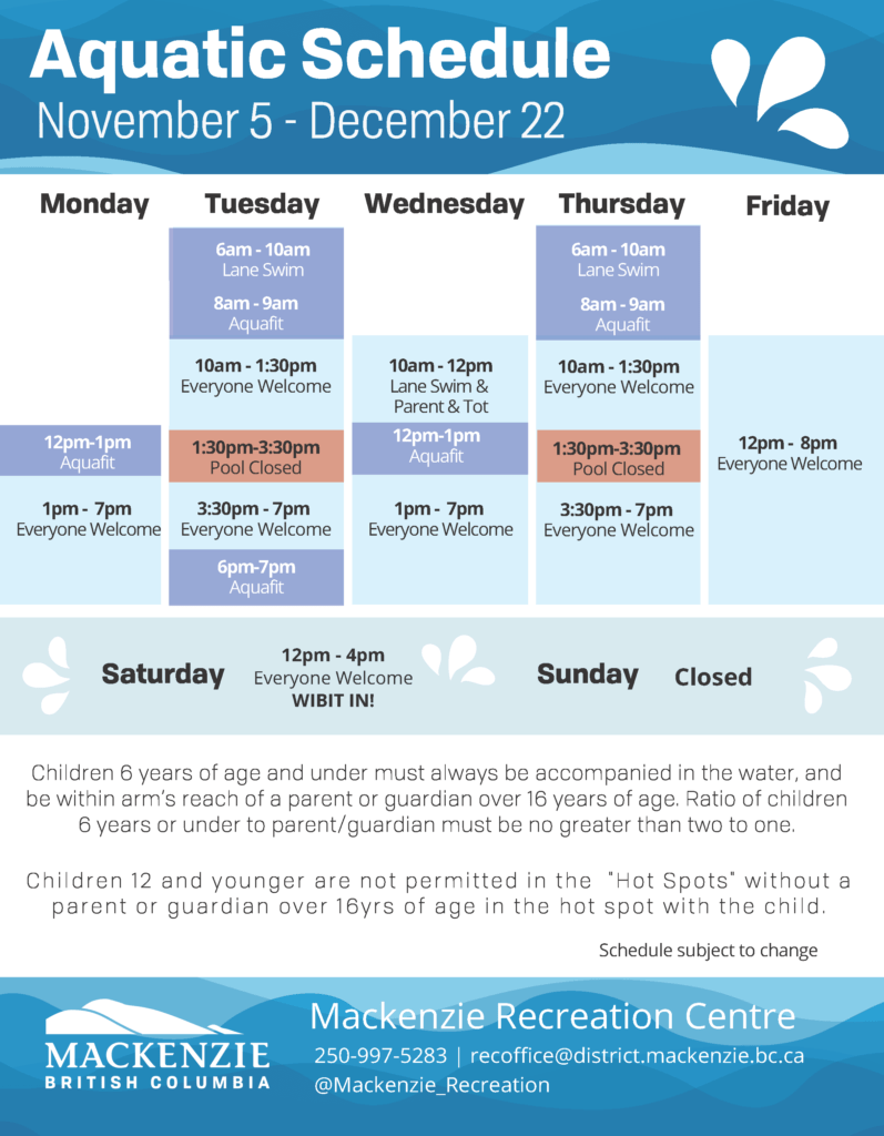 aquatic schedule nov 5 - dec 22