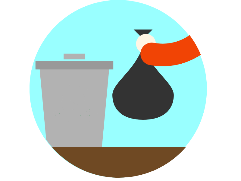 Bagged garbage being placed in bin