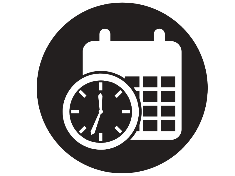 Calendar and clock symbolizing a time sensitive event