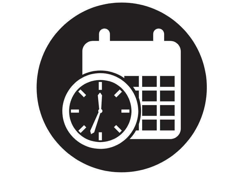 Calendar and clock symbolizing a time sensitive event