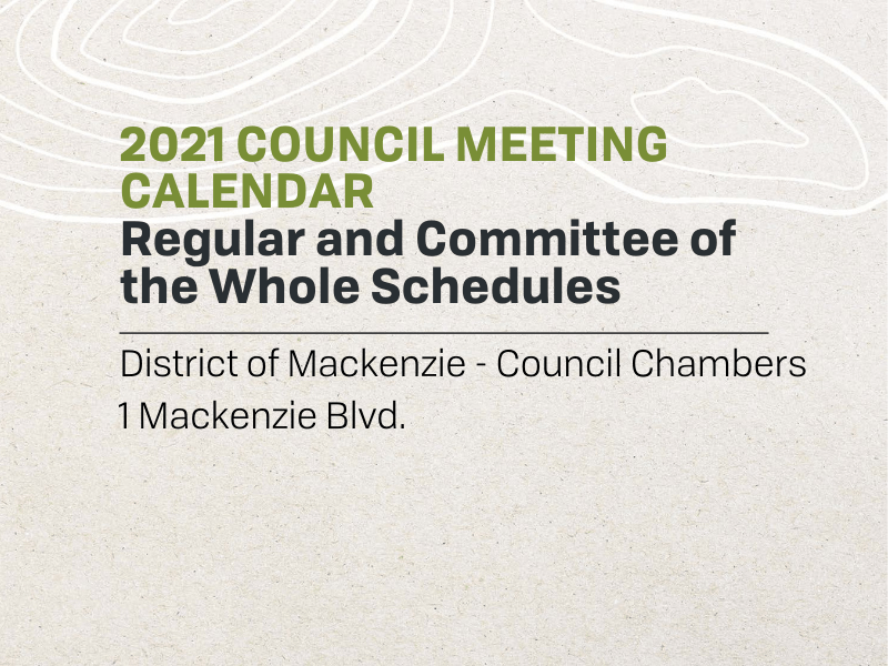 2021 Council Meeting Calendar
