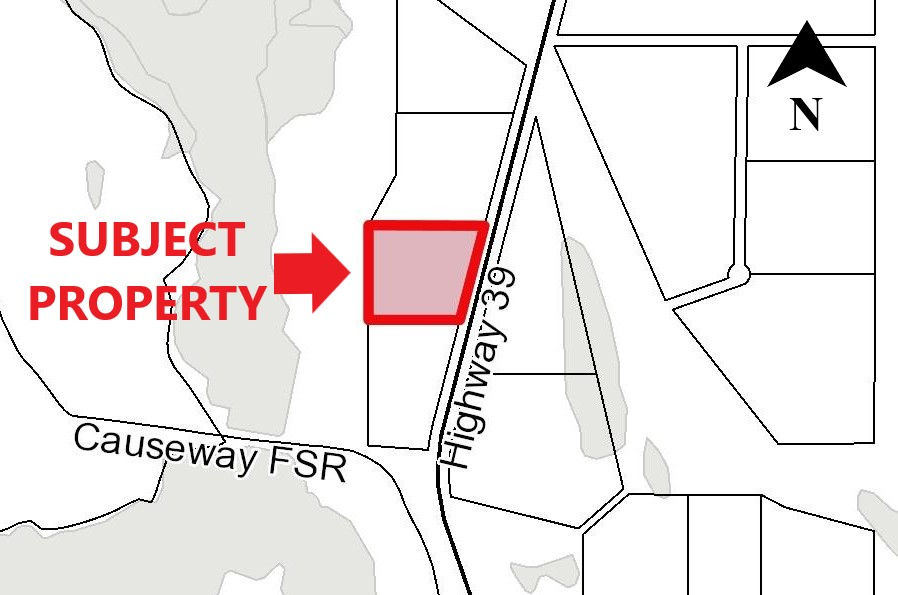 map outlining subject property